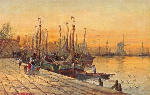 On The Yabe Harbour Fishing Boats Painting Postcard