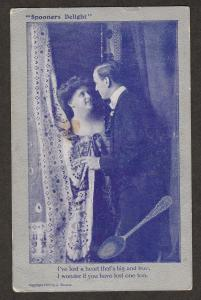 Spooner's Delight Antique Post Card Romantic Couple Man and Woman