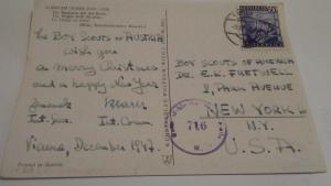 HEAD OF AUSTRIAN BOY SCOUTS SIGNED CHRISTMAS POSTCARD $100.00 OR BEST OFFER