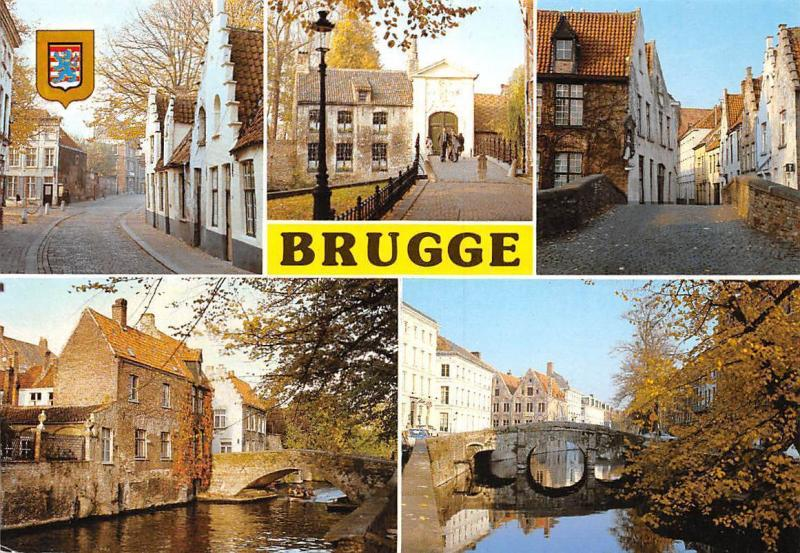 Belgium Greetings from Brugge, Gate Bridge River Pont Street Cars