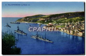 Old Postcard Villefranche La Rade Boat