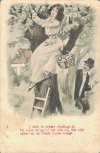 Romantic couple - with a apple three Vintage postcard 03.33