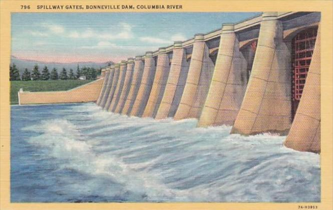 Oregon Bonneville Dam Spillway Gates On Columbia River Curteich