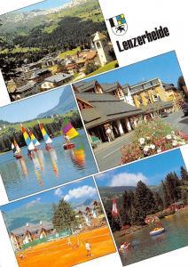 Switzerland Lenzerheide multiviews Tennis Place Lake Boats Church Panorama