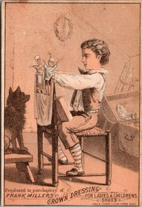 SHOES Victorian Trade Card BOY DOLLS TOY 1880s Frank Millers Crown Dressing