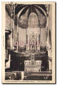Old Postcard Saint Laurent Vernede The Interior From & # 39Eglise