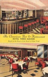 HOTEL TIMES SQUARE American Bar & Restaurant Interiors New York c1940s Postcard