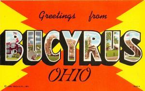 Bucyrus Ohio Large Letter~H V McKee (Springfield) Postcard