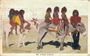 USA A Study in Bronze Native American Indian Kids Donkeys Frank Thayer 06.21