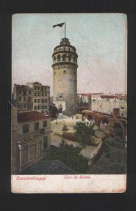076929 CONSTANTINOPLE Galata tower w/ flag Vintage PC