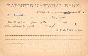 Farmers national Bank Reading, PA, USA Postal Cards, Late 1800's Writing on B...