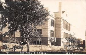 Ord Nebraska~New School~Horse & Buggy Plush Seat~John Works 5am-9pm~1909 RPPC
