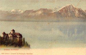 Switzerland Chateau de Chillon Castle Lake Mountains Postcard