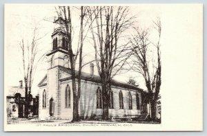 Norwalk Ohio~St Paul's Episcopal Church~Bare Winter Trees~B&W Albertype~c1910