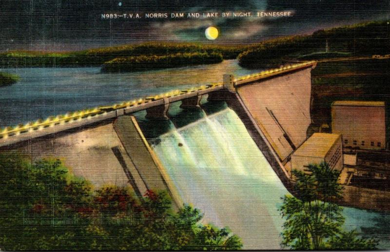 Tennessee Norris Dam and Lake By Night