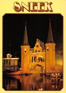 Netherlands Sneek Gate Towers, Harbour Boats Night view
