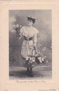 Beautiful Lady With Flowers Bouquetiere de la Cote d' Azur