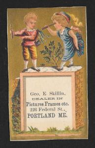 VICTORIAN TRADE CARD Geo Skillin Picture Frames Boy & Girl