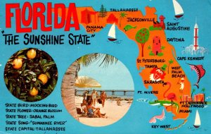 Florida Map Of The Sunshine State 1971