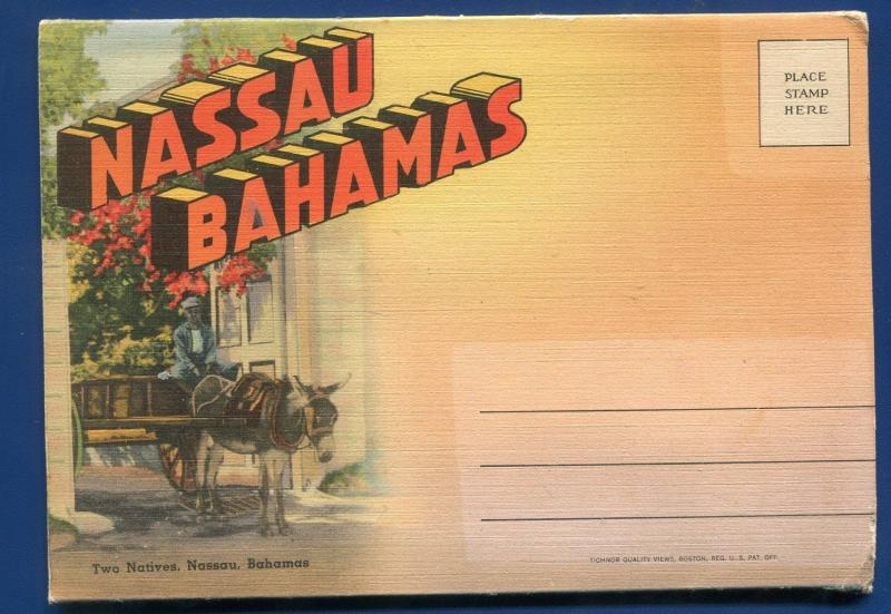 Nassau Bahamas Tea Garden Paradise Beach Lighthouse postcard folder