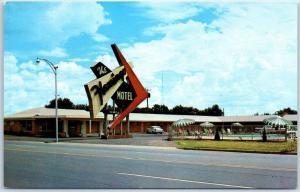 Elk City, Oklahoma Postcard THE FLAMINGO HOTEL Highway 66 Roadside c1950s UNUSED