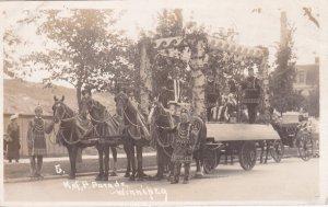 RP: K.of P. Parade, Horse Drawn wagon, Winnipeg, Manitoba, Canada , PU-1914