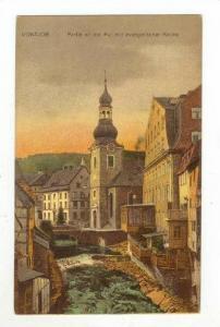 Partie An Der Rur Mit Evangelischer Kirche, Montjoie (North Rhine-Westphalia)...