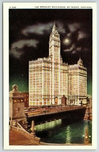 Chicago Illinois~Wrigley Building Night Lights~Full Moon~#242 Max Rigot~1930s PC