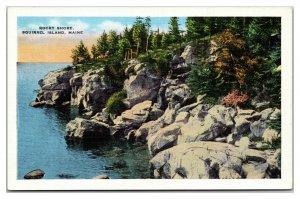 SQUIRREL ISLAND, Maine ~ Rocky Shore Line LInen Vintage Postcard