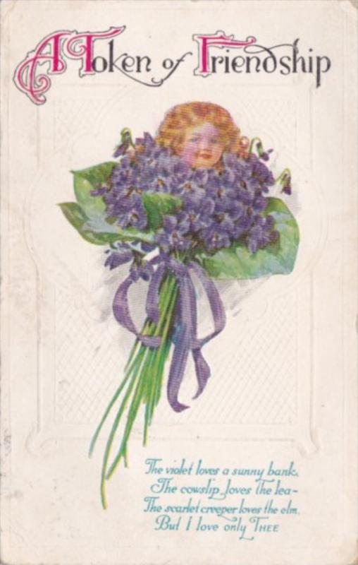 Flowers Bouquet Of Violets With Girls Head 1918