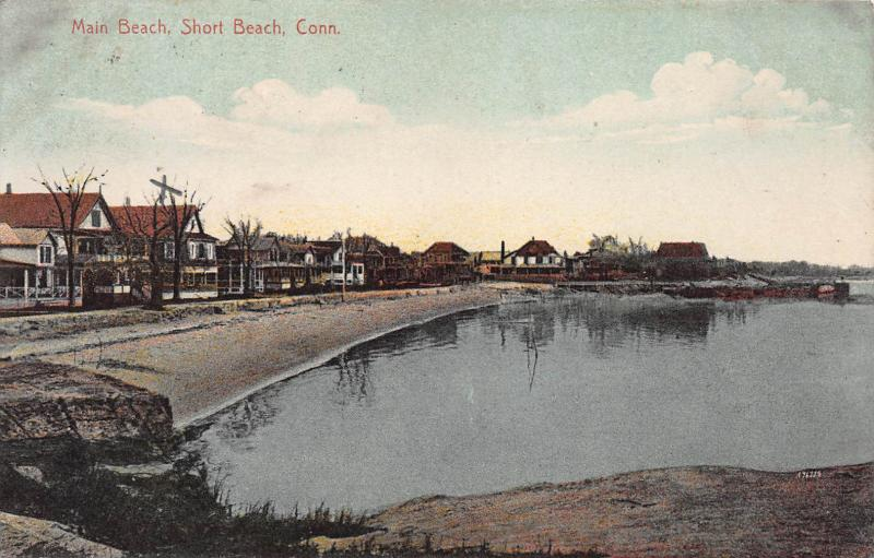 Main Beach, Short Beach, Connecticut, Early Postcard, Used