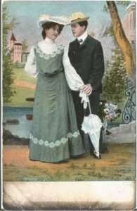 Proper Lady with Gentleman Beautiful Green Edwardian Dress with Parasol Postcard