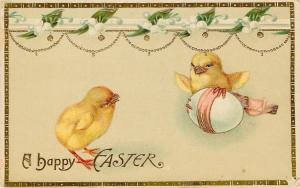 Easter~Chick Protects Egg~Claws On~Wings Out~Lily Of The Valley~Gold~Emb~GEL