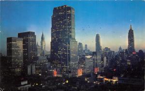 Manhattan New York City~RCA Building @ Dusk~Beautiful Skyline~c1960 Postcard