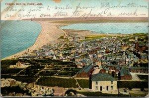 Isle of Portland Dorset UK~Chesil Beech Birdseye Panorama~Rowhouses~c1910