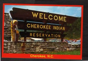 NC Welcome Cherokee Indian Reservation Native Americans North Carolina Postcard