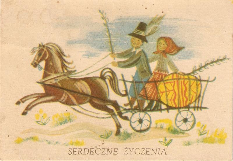 Horse pulling cart with couple.Serdeczne Zyczenia Curious antique postcard