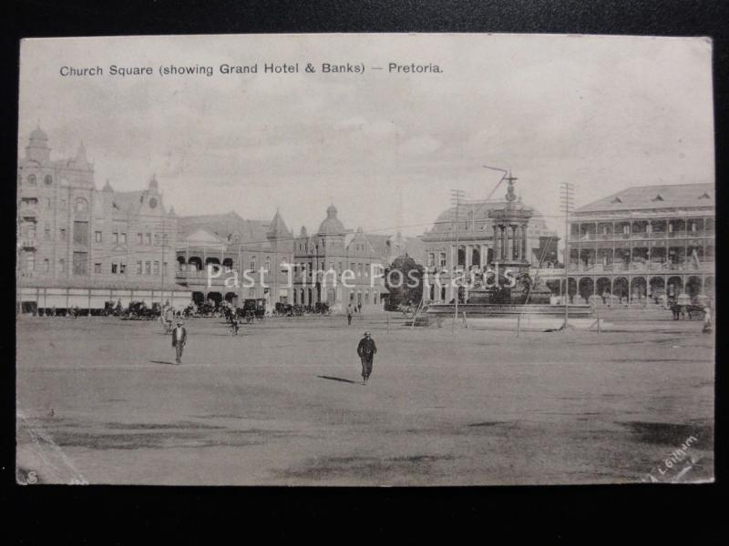 South Africa: PRETORIA Church Square showing Hotel & Banks c1908