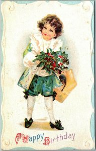 Vintage BIRTHDAY Greetings Postcard Boy in Colonial Costume w/ Holly Bouquet