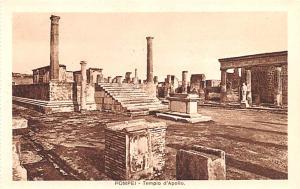 Italy Old Vintage Antique Post Card Pompei Tempio d'Apollo Unused