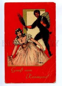 245279 Gruss KRAMPUS & Belle by MILAN Vintage PC