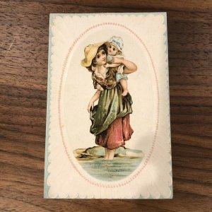 Toledo , Ohio - Woolson Spice Advertising Trade Card Mother Child Kid Rare