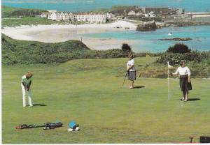 postcard Channel Islands Alderney Golf Course with Braye Bay