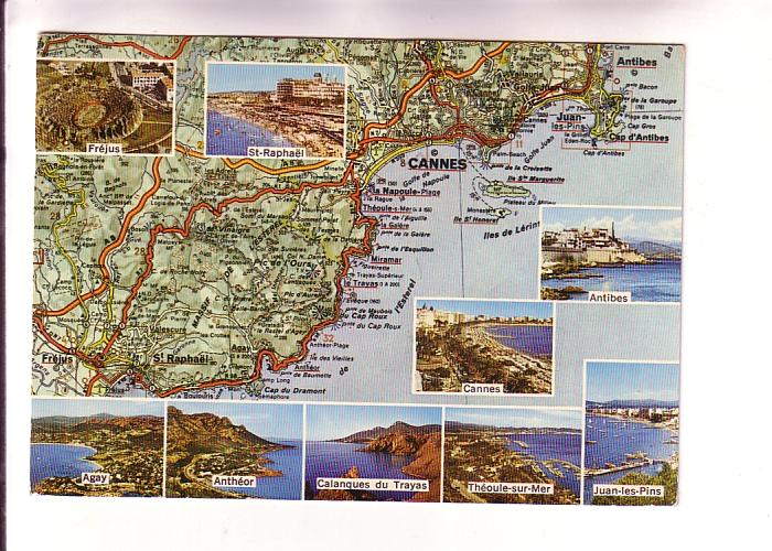 South Of France Cities Map.Nineviews Of Cities And Detailed Map Southern France Hippostcard
