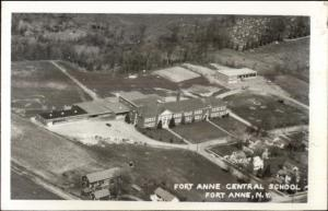 Fort Anne NY Central School Aerial View Real Photo Postcard jrf