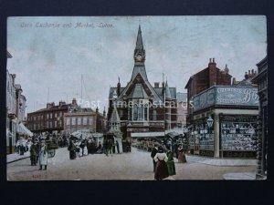 Bedfordshire LUTON Corn Exchange & Market & showing BOOTS CHEMIST c1907 Postcard