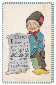 Dutch Kid Boy with Christmas Greeting Scroll Extry Postcard