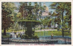 Massachusetts Boston Brewer's Fountain and State House 1916