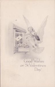 Valentine's Day Cupid Riding Dove Delivering Letter 1920 Gibson