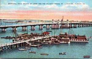 Florida St Augustine Municipal Dock and Bridge Of Lions